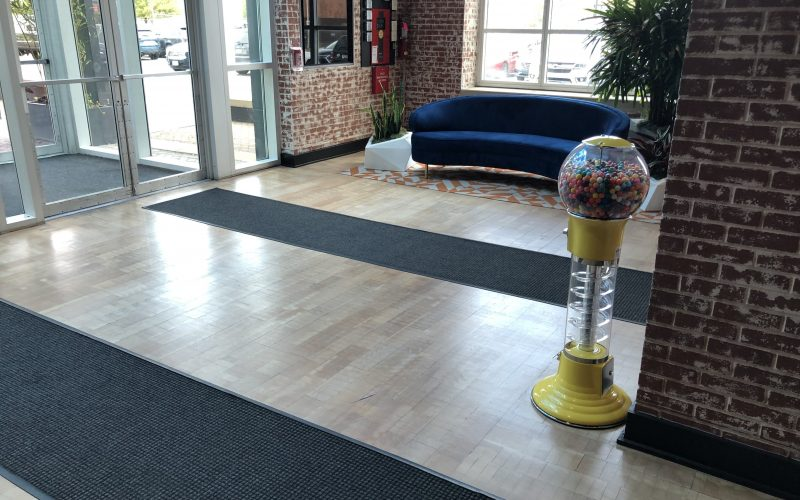 Hardwood Floor Office Building Lobby Refinishing